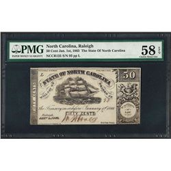 1863 50 Cent State of North Carolina Obsolete Note PMG Choice About Uncirculated
