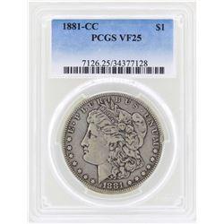 1881-CC $1 Morgan Silver Dollar Coin PCGS VF25
