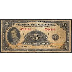 1935 $5 Bank of Canada Note