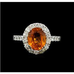 14KT White Gold 3.50 ctw Mandarin Spessartite and Diamond Ring