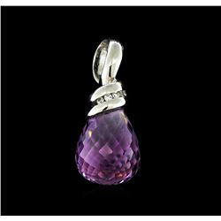 14KT White Gold 20.50 ctw Amethyst and Diamond Pendant