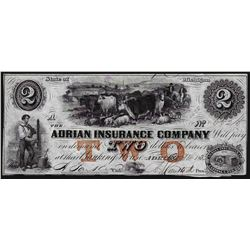 1853 $2 The Adrian Insurance Company Obsolete Bank Note