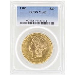 1903 $20 Liberty Head Double Eagle Gold Coin PCGS MS61