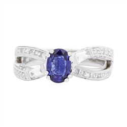 18KT White Gold Ladies 0.94 ctw Sapphire and Diamond Ring