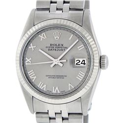 Rolex Men's Stainless Steel 36MM Slate Grey Roman Datejust Wristwatch