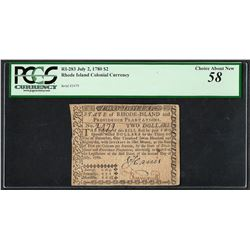 July 2, 1780 $2 Rhode Island Colonial Currency Note RI-283 PCGS Choice About New