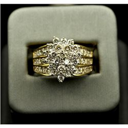 14KT Yellow Gold 2.05 ctw Marquise Design Diamond Round Cut Ring