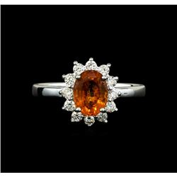 14KT White Gold 1.60 ctw Mandarin Spessartite and Diamond Ring