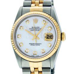 Rolex Men's Two Tone 14K Mother Of Pearl VS Diamond 36MM Datejust Wristwatch