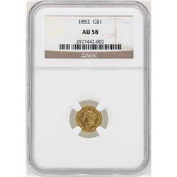 1852 $1 Liberty Head Gold Dollar Coin NGC AU58