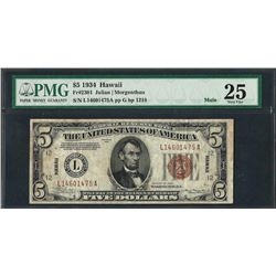1934 $5 Hawaii Federal Reserve WWII Emergency Note Fr.2301 Mule PMG Very Fine 25