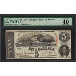 1863 $5 Confederate State of America Note T-60 PMG Extremely Fine 40