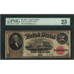 1917 $2 Legal Tender Note Fr.60 PMG Very Fine 25