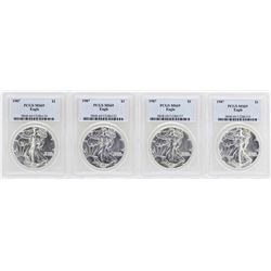 Lot of (4) 1987 $1 American Silver Eagle Coins PCGS MS69