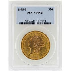 1898-S $20 Liberty Head Double Eagle Gold Coin PCGS MS61