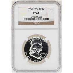 1956 Type 2 Franklin Half Dollar Proof Coin NGC PF67