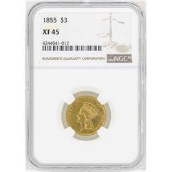 1855 $3 Indian Princess Head Gold Coin NGC XF45