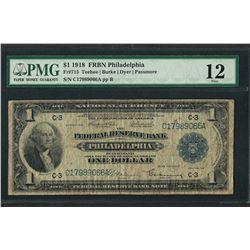 1918 $1 Federal Reserve Bank Note Philadelphia Fr.715 PMG Fine 12