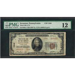 1929 $20 National Currency Note Scranton, Pennsylvania CH# 1946 PMG Fine 12