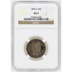 1896-S Barber Quarter Silver Coin NGC AG3