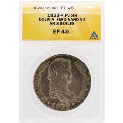 1823-P PJ Bolivia Ferdinand VII AR 8 Reales Coin ANACS XF45