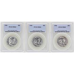 Lot of (3) 1956 Franklin Half Dollar Coins NGC MS63