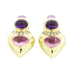 18KT Yellow Gold Ladies 8.60 ctw Tourmaline, Amethyst and Diamond Earrings