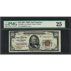 1929 $50 Federal Bank of San Francisco Note Fr.1880-L PMG Very Fine 25