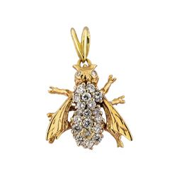 14KT White and Yellow Gold 1.00 ctw Diamond Bee Pendant
