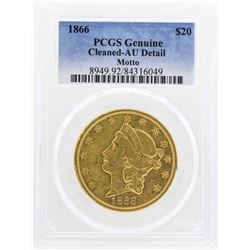 1866 $20 with Motto Liberty Head Double Eagle Gold Coin PCGS Genuine AU Detail