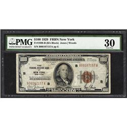 1929 $100 Federal Reserve Bank of New York Fr.1890-B PMG Very Fine 30