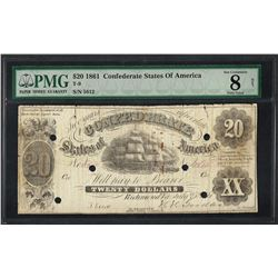 1861 $20 Confederate States of America Note T-9 PMG Very Good 8 Net