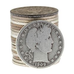 Roll of (20) Barber Half Dollar Coins - Circulated