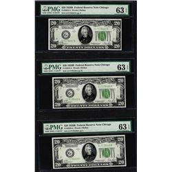 Lot of (3) 1928B $20 Federal Reserve Notes Fr.2052-G PMG Choice Uncirculated 63E