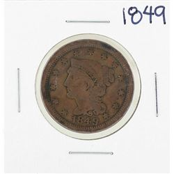 1849 Braided Hair Large Cent Coin