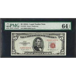1953A $5 Legal Tender Note Fr.1533 PMG Choice Uncirculated 64EPQ