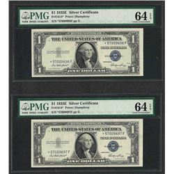 Lot of (2) Consecutive 1935E $1 Silver Certificate STAR Notes PMG Choice Unc. 64
