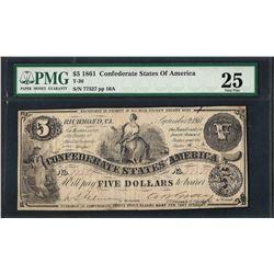 1861 $5 Confederate States of America Note T-36 PMG Very Fine 25