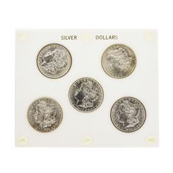Set of (5) Brilliant Uncirculated $1 Morgan Silver Dollar Coins New Orleans Mint
