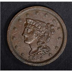 1851 HALF CENT, BEAUTIFUL ORIGINAL UNC