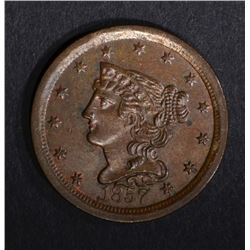 1857 HALF CENT, BEAUTIFUL ORIGINAL UNC