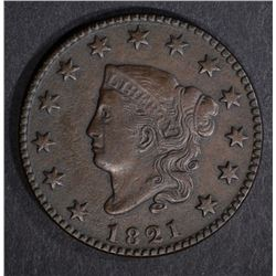 1821 LARGE CENT, XF/AU KEY DATE