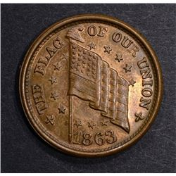 "1863 CIVIL WAR TOKEN ""FLAG OF OUR UNION"" GEM BU"