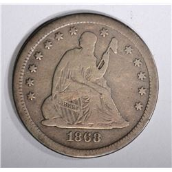 1868-S SEATED QUARTER, F/VF RARE