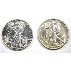 2  1943 WALKING LIBERTY HALF DOLLARS, CHOICE BU