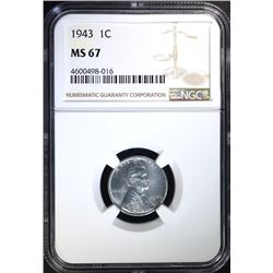 "1943 LINCOLN ""STEEL"" CENT NGC MS-67"