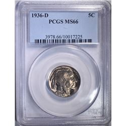 1936-D BUFFALO NICKEL, PCGS MS-66 SUPERB