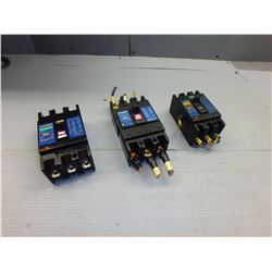 MITSUBISHI NF30-SS, NF100-CP, NF100-CS NO-FUSE BREAKERS *LOT OF 3*