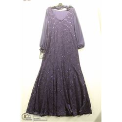 (WOMENS) URSULA DARK PURPLE AND SEQUENCE FULL LENGTH DRESS