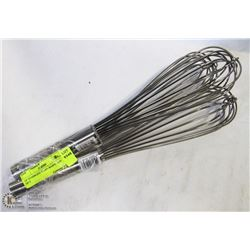 """14"""" STAINLESS STEEL WHIPS - LOT OF 3"""